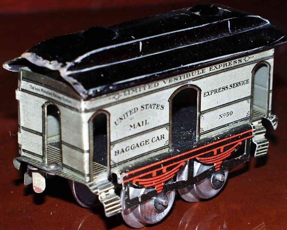 ives 50 1908 spielzeug eisenbahn gepaeckwagen weiss united states mail service spur 0