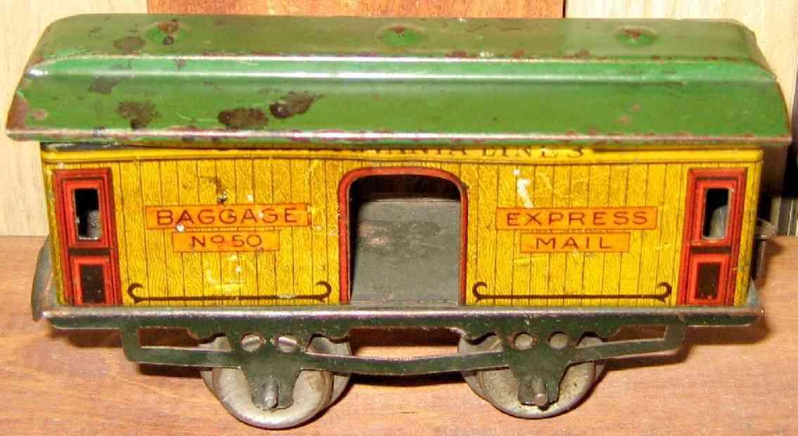 ives 50 1910 spielzeug eisenbahn gepaeckwagen gelb gruen spur 0