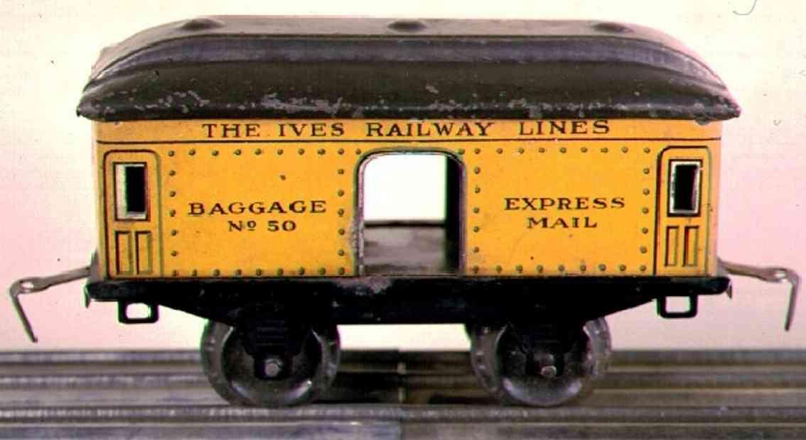 ives 50 1915 spielzeug eisenbahn gepaeckwagen gelb schwarz express mail spur 0