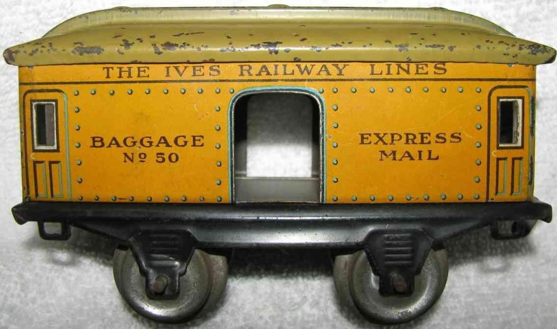 ives 50 1915 spielzeug eisenbahn gepaeckwagen gelb express mail spur 0