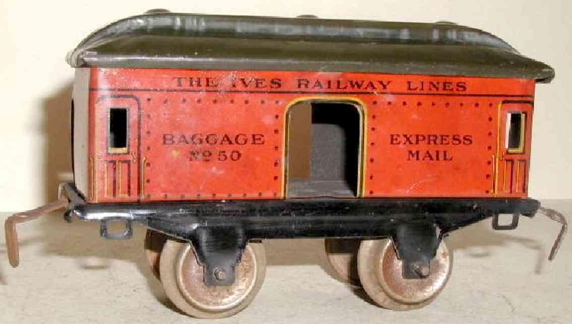 ives 50 1928 spielzeug eisenbahn gepaeckwagen rot express mail spur 0