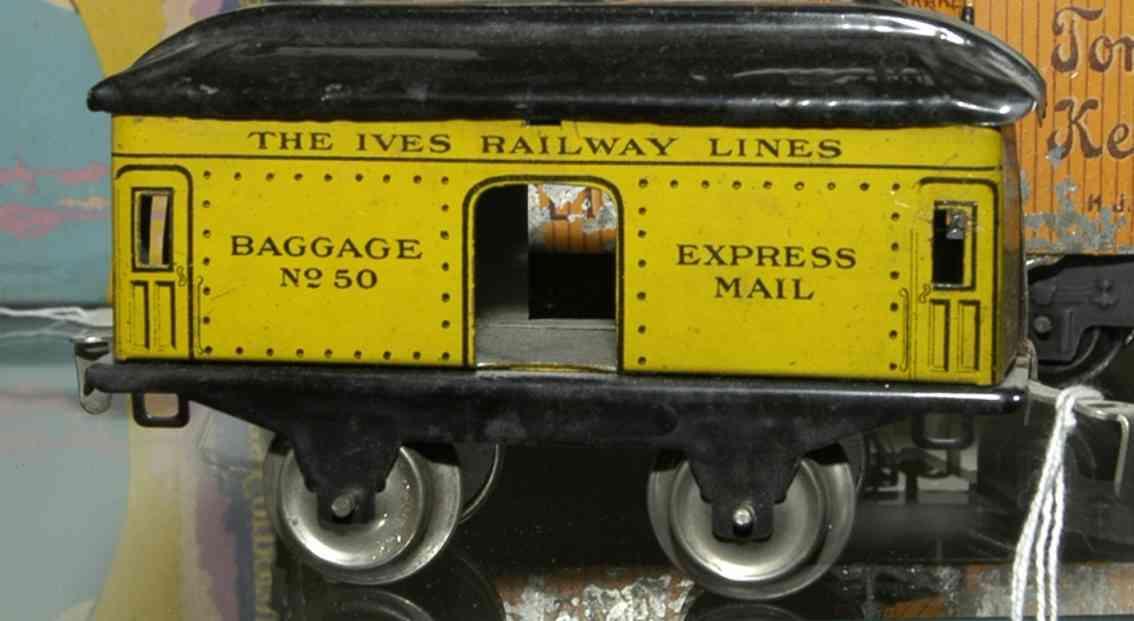 ives 50 1929 spielzeug eisenbahn gepaeckwagen gelb express mail spur 0