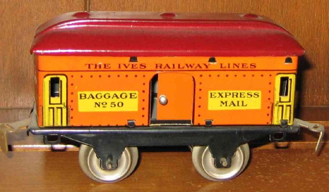 ives 50 1930 spielzeug eisenbahn gepaeckwagen orange rot express mail spur 0