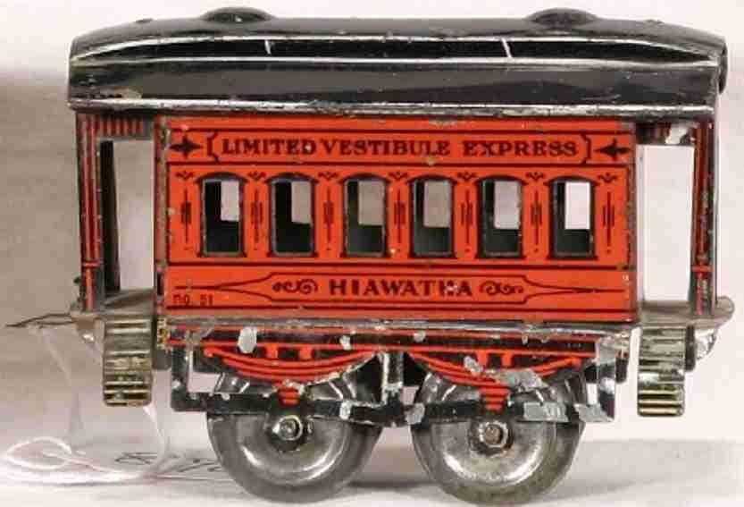 ives 51 hiawatha railway toy passenger car red black gauge 0
