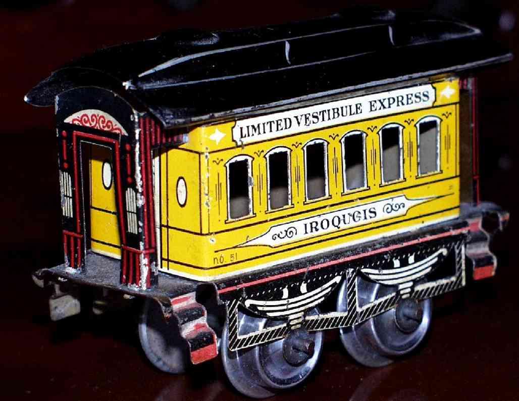 ives 51 1903 iroquois spielzeug eisenbahn personenwagen gelb spur 0