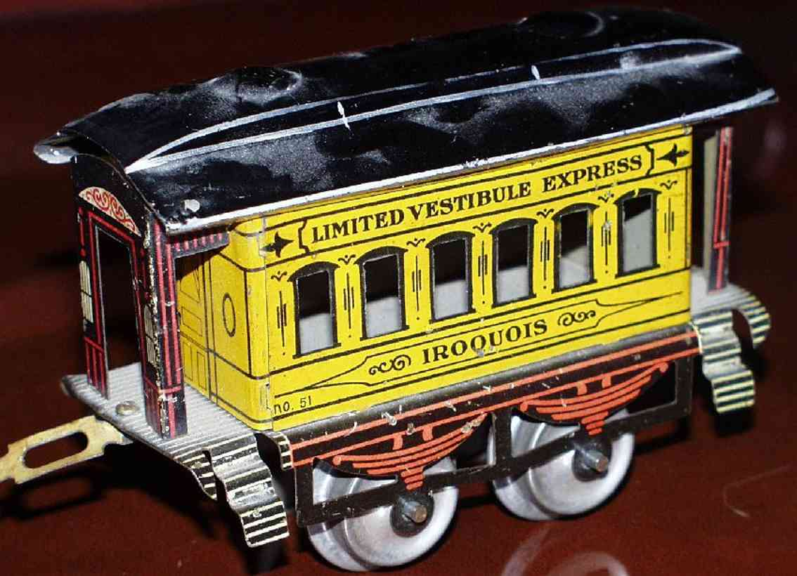 ives 51 1904 iroquois spielzeug eisenbahn personenwagen gelb spur 0