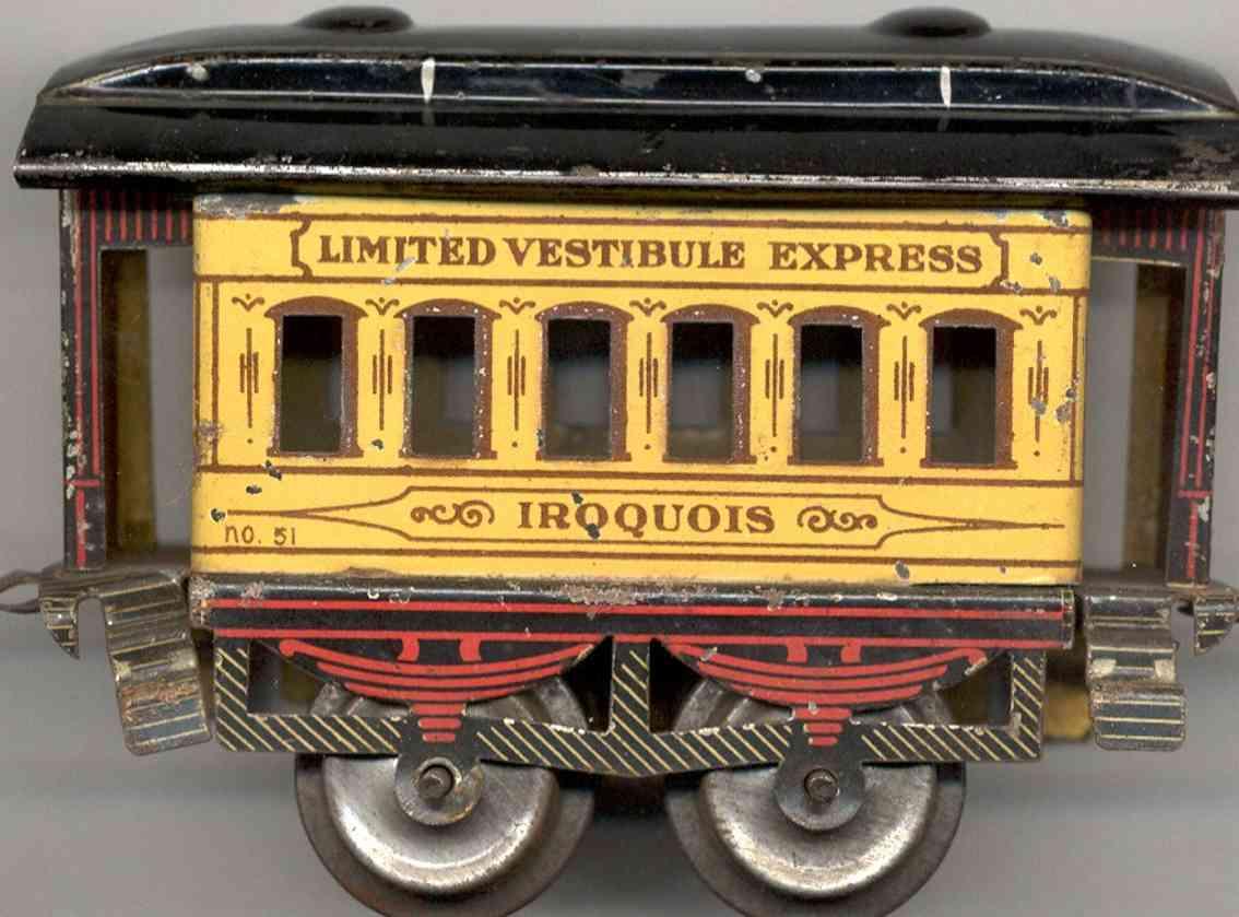 ives 51 1904 iroquois spielzeug eisenbahn personenwagen beige spur 0