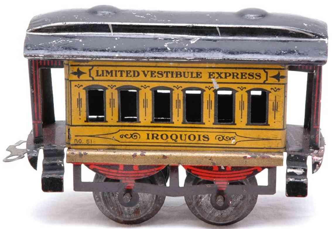 ives 51 1906 iroquois spielzeug eisenbahn personenwagen gelb spur 0