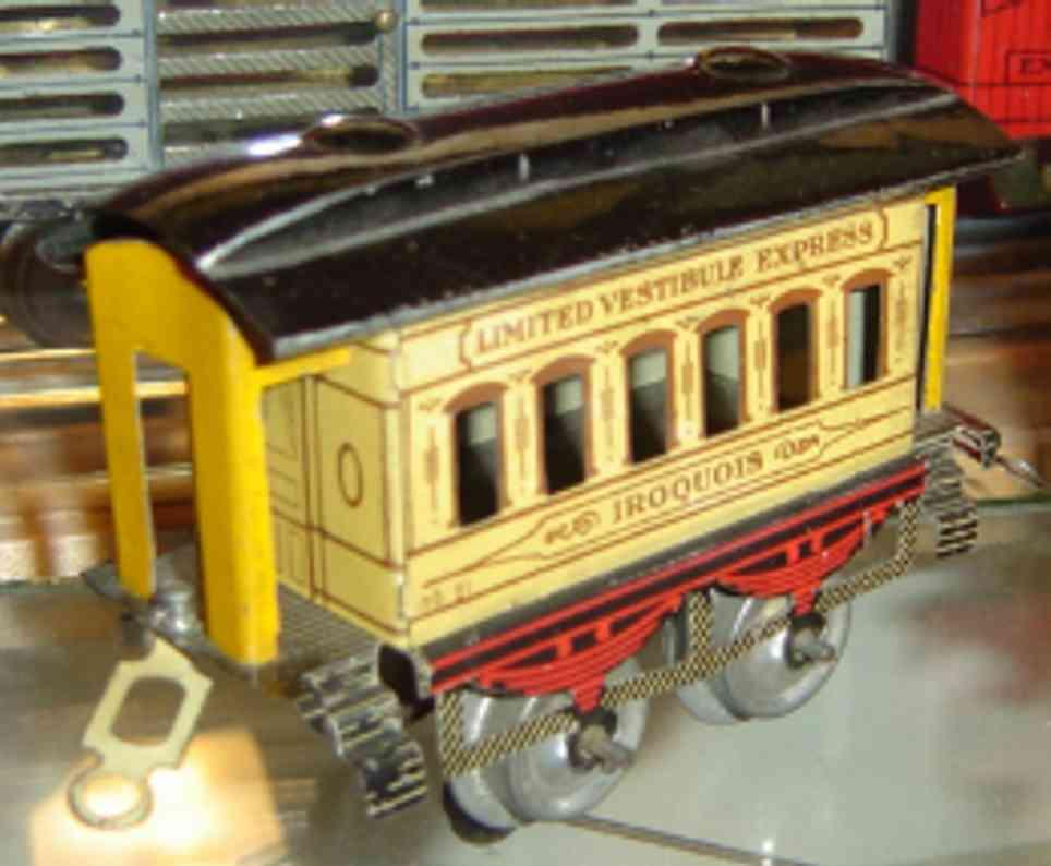 ives 51 1930 iroquois spielzeug eisenbahn personenwagen beige schwarz spur 0