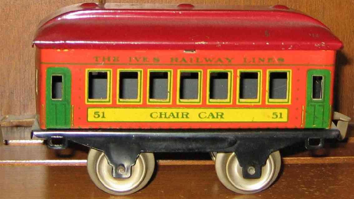 ives 51 1930 chair spielzeug eisenbahn personenwagen orange rot spur 0