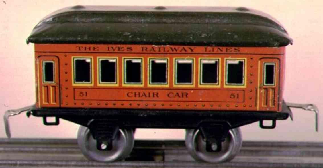 ives 51 1923 chair spielzeug eisenbahn personenwagen orange gruen spur 0