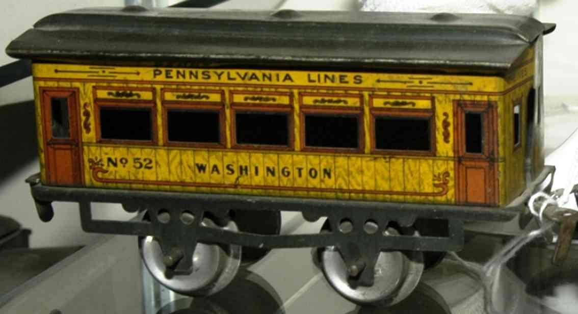 ives 52 1911 washington spielzeug eisenbahn personenwagen gelb grau spur 0