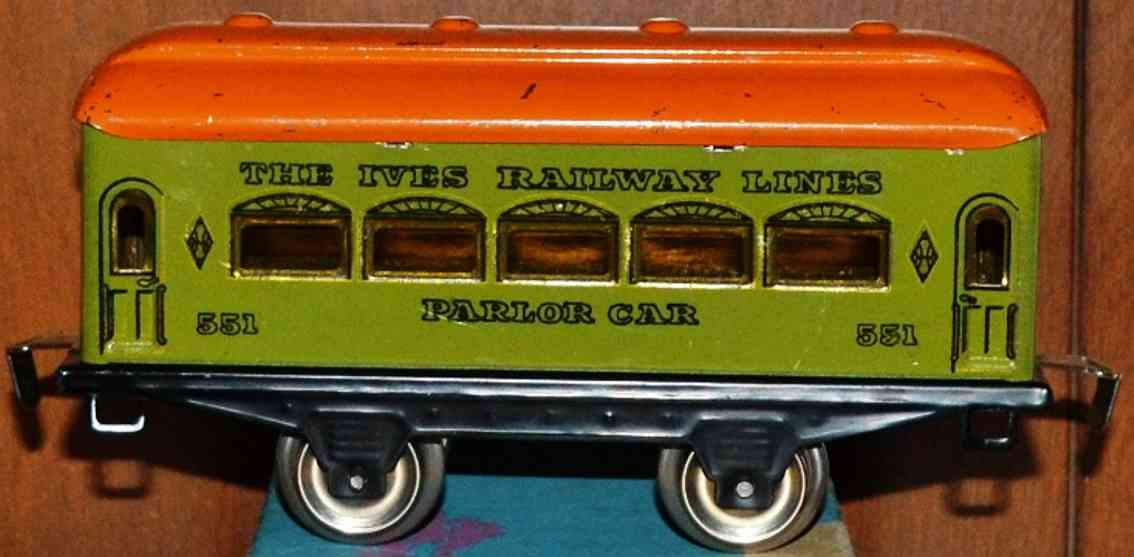 ives 551 (1930) railway toy passenger car passenger car; 2-axis, green lithographed without rivets, or