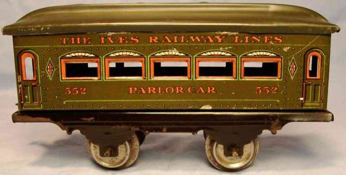 ives 552 (1916) railway toy passenger car passenger car; 2-axis, steel style lithographed with rivets,