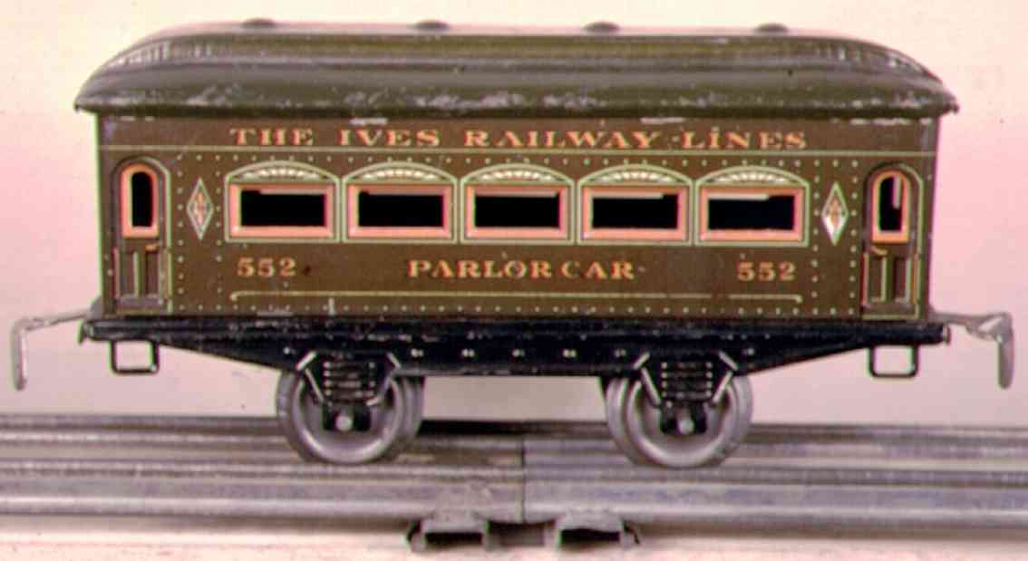 ives 552 (1921) railway toy passenger car passenger car; 2-axis, steel style chocolate brown lithograp
