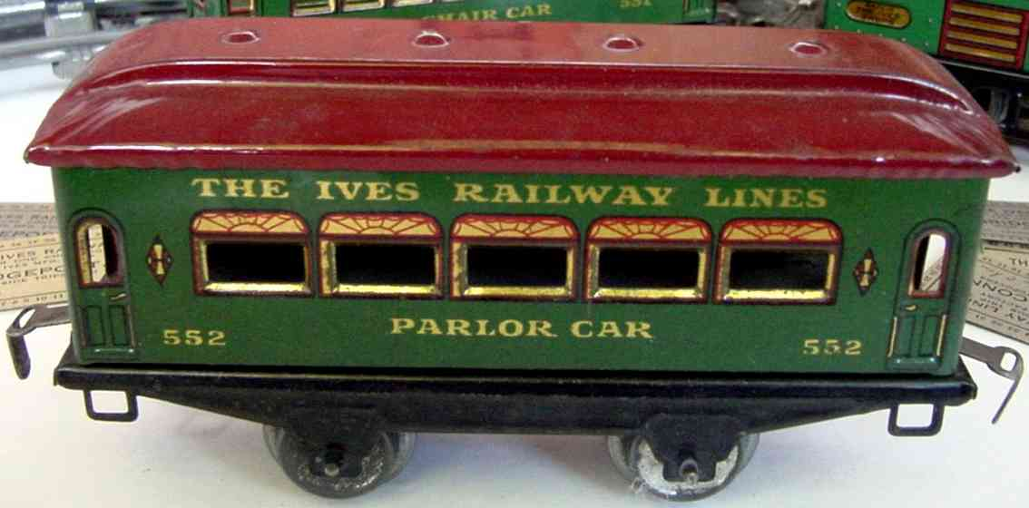 ives 552 (1926) railway toy passenger car passenger car; 2-axis, steel style green lithographed withou