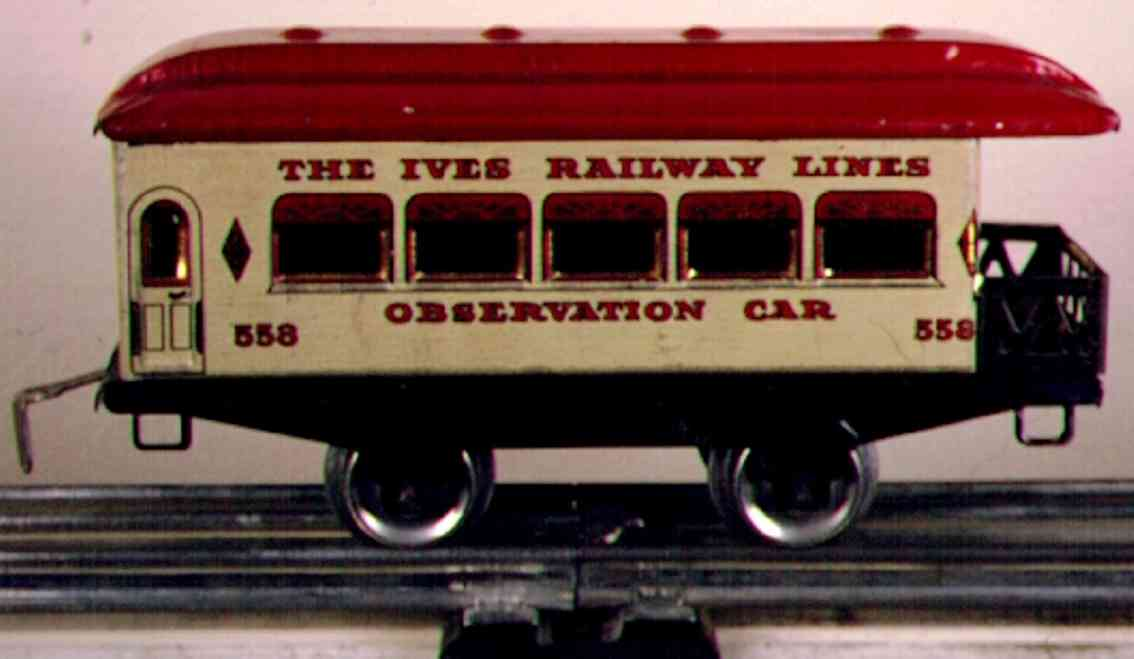 ives 558 (1927) railway toy passenger car passenger car; 2-axis, steel style white owl lithographed, r