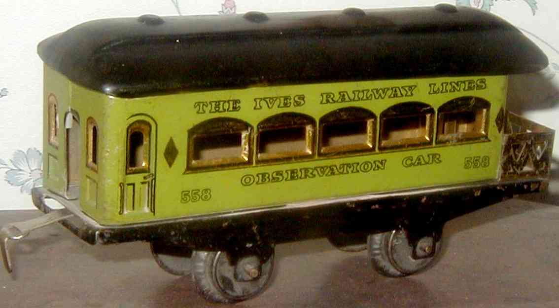ives 558 (1929) railway toy passenger car passenger car; 2-axis, steel style oliv green lithographed w
