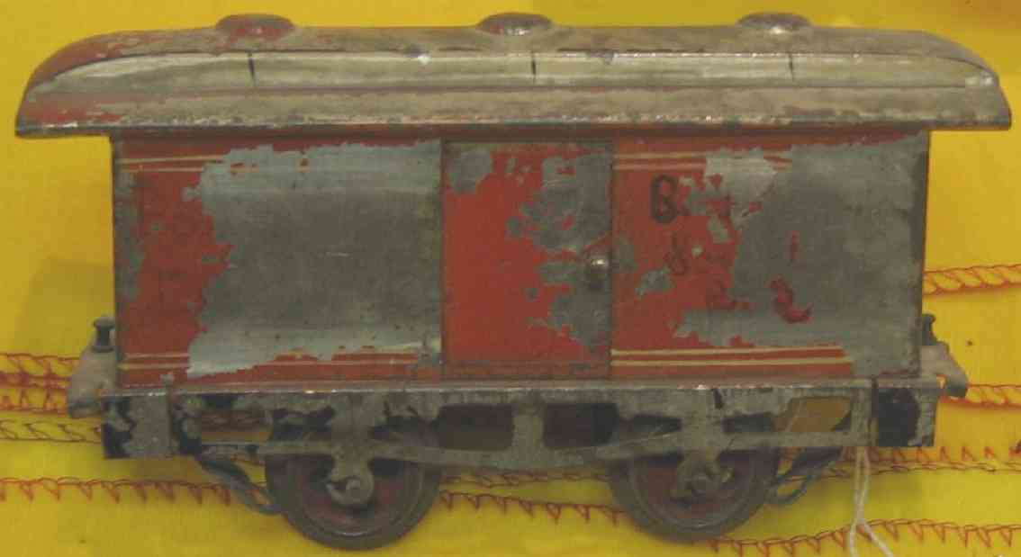 ives 60 (1901) railway toy passenger car baggage car; 2-axis, hand-painted, nickel wheels, roof with