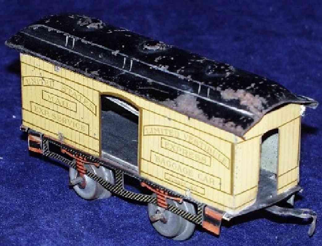 ives 60 railway toy baggage car cream red gauge 0
