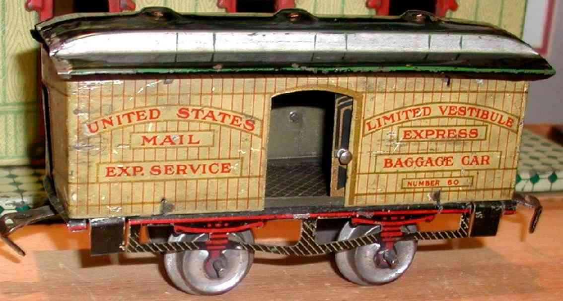 ives 60 (1908) railway toy passenger car baggage car; 2-axis, lithographed, nickel wheels, roof with