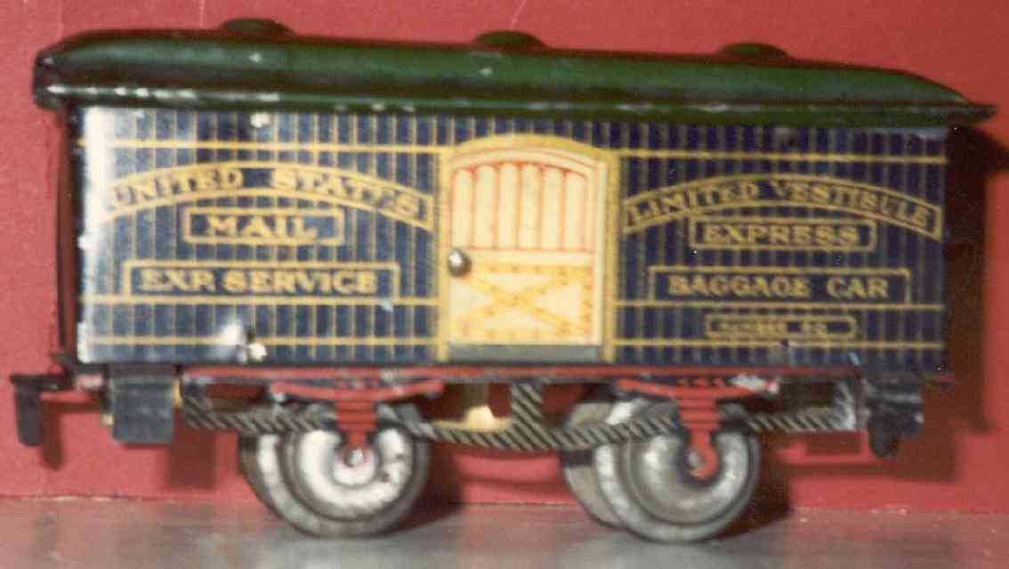 ives 60 (1909) railway toy passenger car baggage car; 2-axis, dark blue lithographed, nickel wheels,