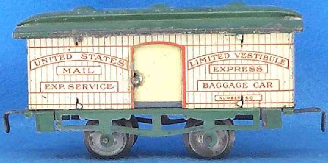 ives 60 (1909) railway toy passenger car baggage car; 2-axis, lithographed, nickel wheels, roof with