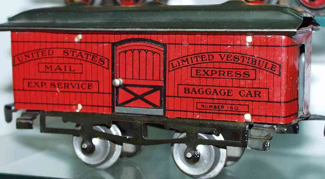 ives 60 (1910) railway toy passenger car baggage car; 2-axis, lithographed, nickel wheels, roof with
