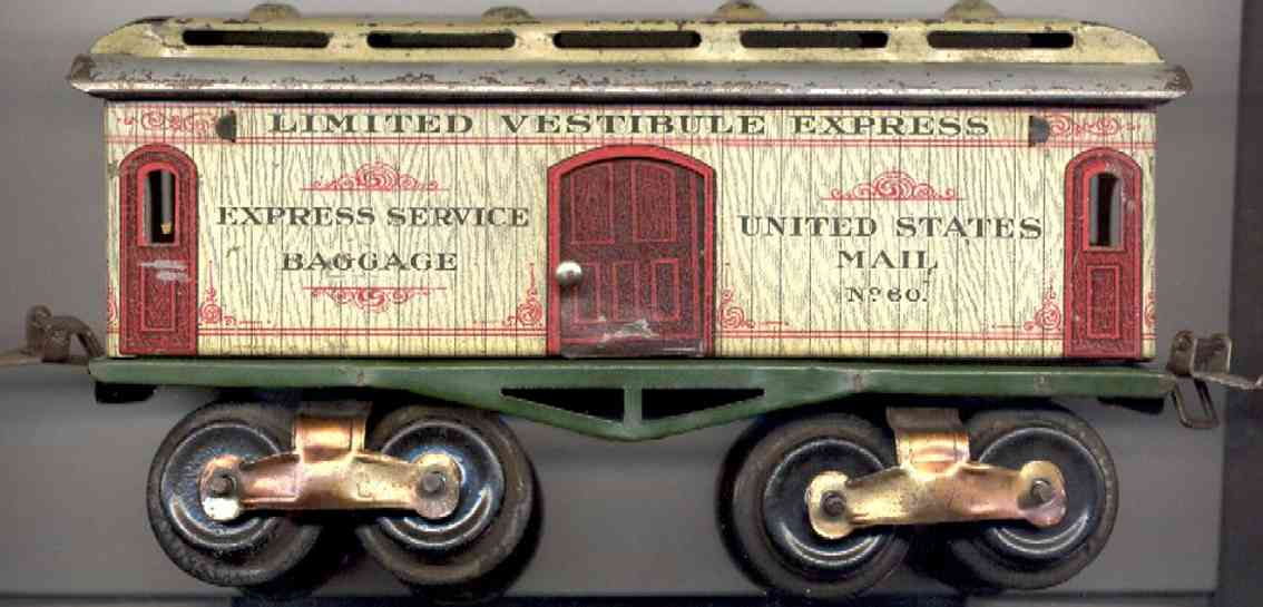 ives 60 (1910) railway toy passenger car baggage car; 4-axis, lithographed, nickel wheels, roof with