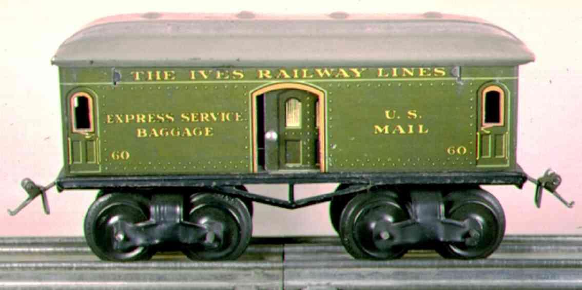 ives 60 railway toy baggage car green gray gauge 0