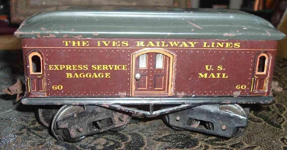 ives 60 railway toy baggage car brown green gauge 0