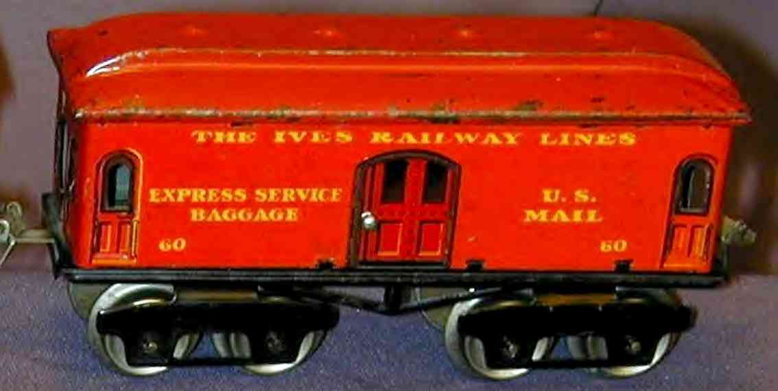 ives 60 (1923) railway toy passenger car baggage car; 4-axis, lithographed, nickel wheels, green or r