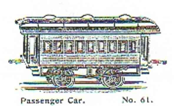 ives 61 (1901) railway toy passenger car passenger car; 2-axis, hand-painted, cast iron wheels, roof