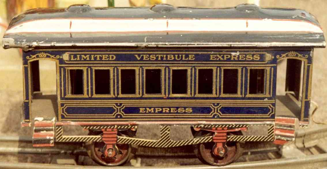 ives 61 1902 railway toy passenger car empress gauge 0