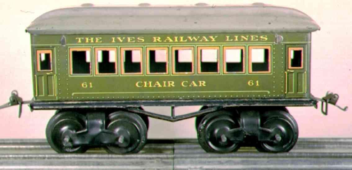 ives 61 (1916) Chair railway toy passenger car green gauge 0