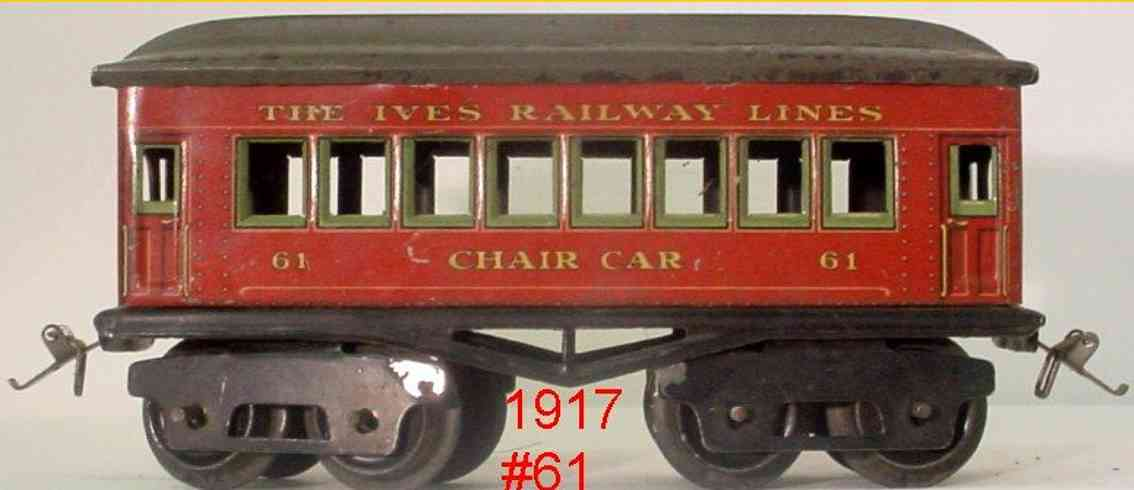 ives 61 (1917) Chair railway toy passenger car passenger car; 4-axis, red steel lithographed with rivet det