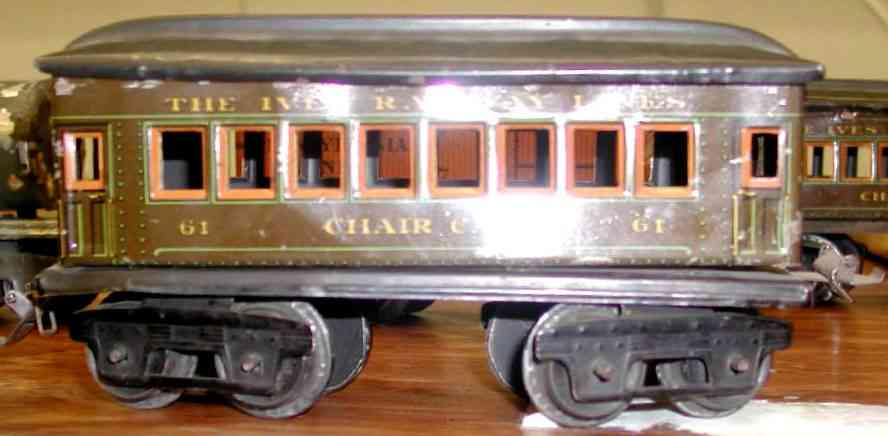ives 61 (1918) Chair railway toy passenger car passenger car; 4-axis, steel lithographed with rivet detail,