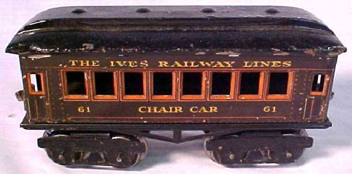 ives 61 chair railway toy passenger car chocolate brown or maroon gauge 0