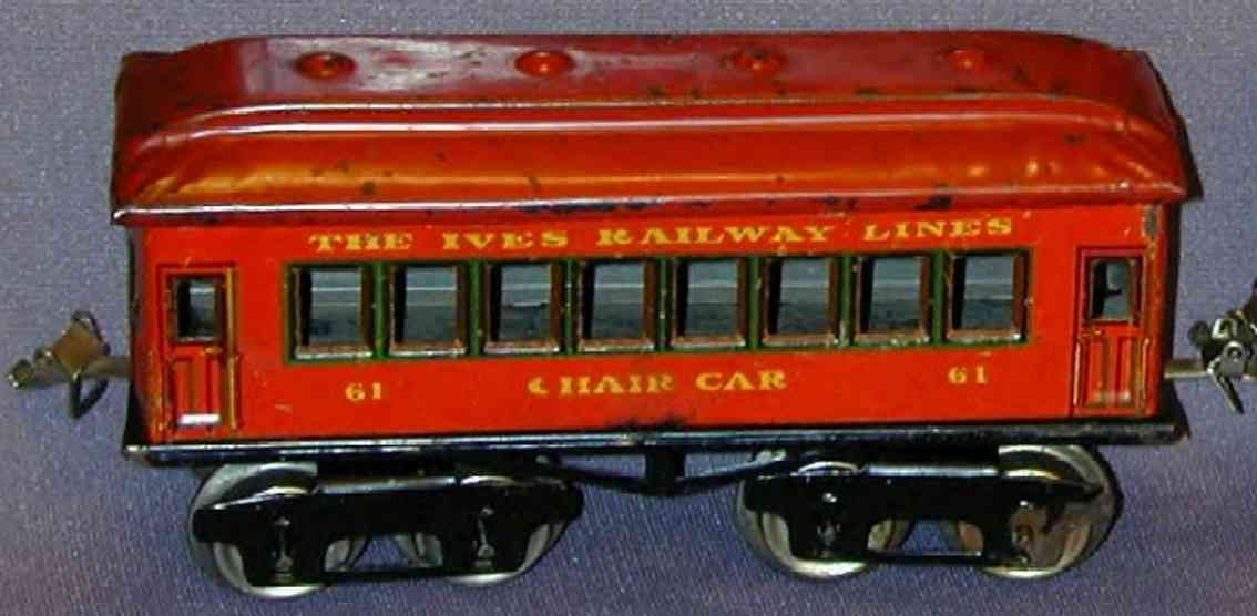 ives 61 (1923) Chair railway toy passenger car passenger car; 4-axis,chocolate brown lithographed without r