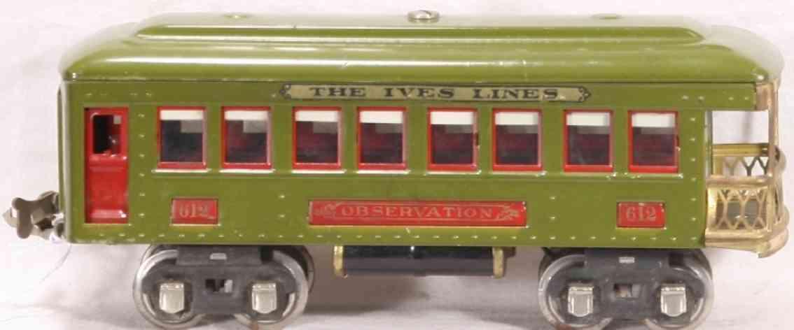 ives 612 railway toy observation car gauge 0