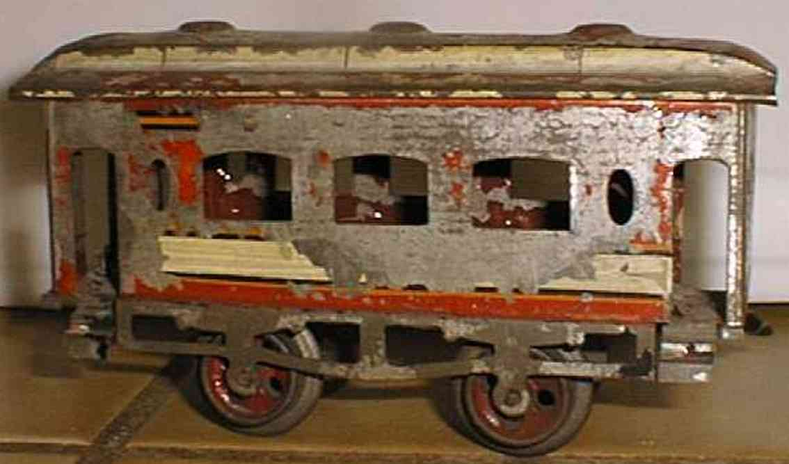ives 62 (1901) railway toy passenger car passenger car; 2-axis, hand-painted in red, white orange and