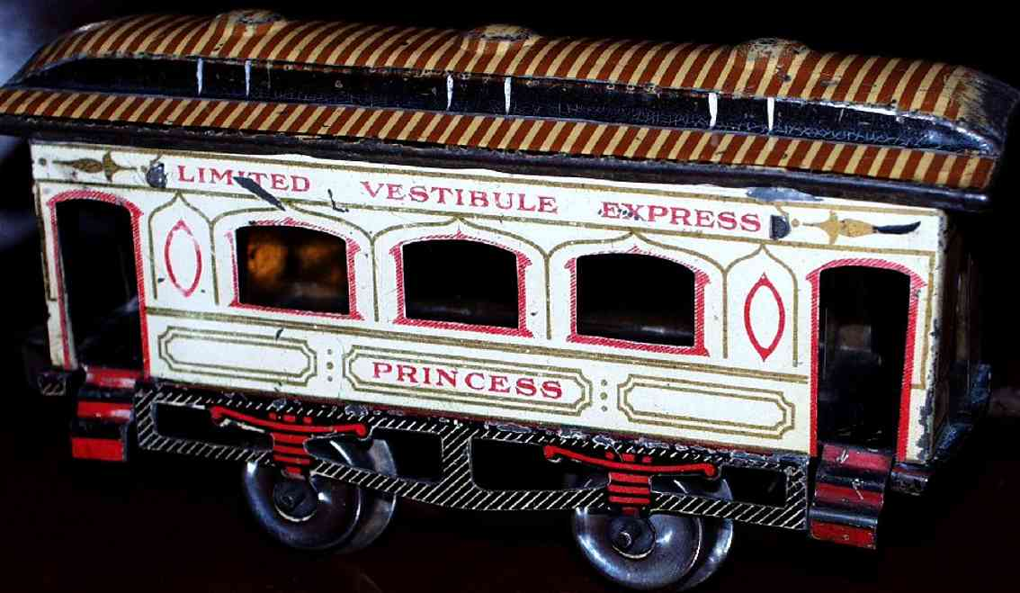 ives 62 (1904) Princess railway toy passenger car passenger car; 2-axis, lithographed, tin wheels, striped roo