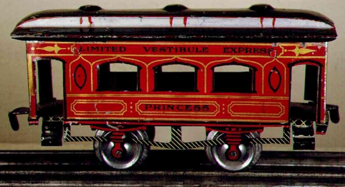 ives 62 1906 princess railway toy passenger car  gauge 0