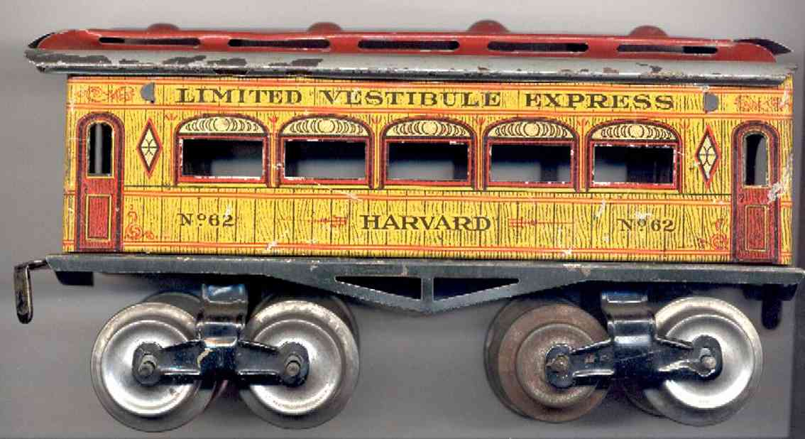 ives 62 harvard railway toy passenger car yellow gauge 0