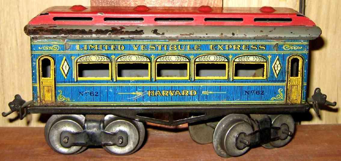 ives 62 harvard railway toy passenger car blue red gauge 0