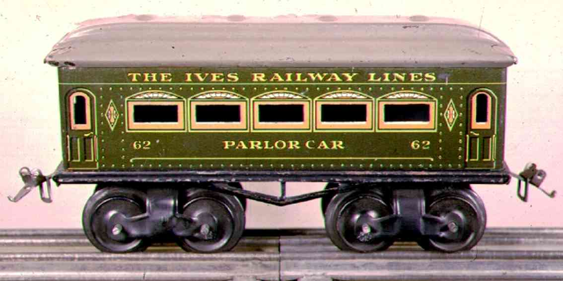 ives 62 (1915) Parlor railway toy passenger car passenger car; 4-axis, steel lithographed, black wheels, one