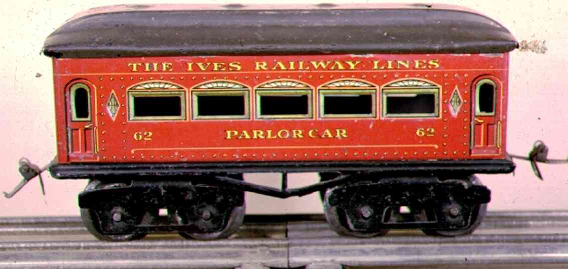 ives 62 (1917) Parlor railway toy passenger car passenger car; 4-axis, red lithographed with rivets, black w