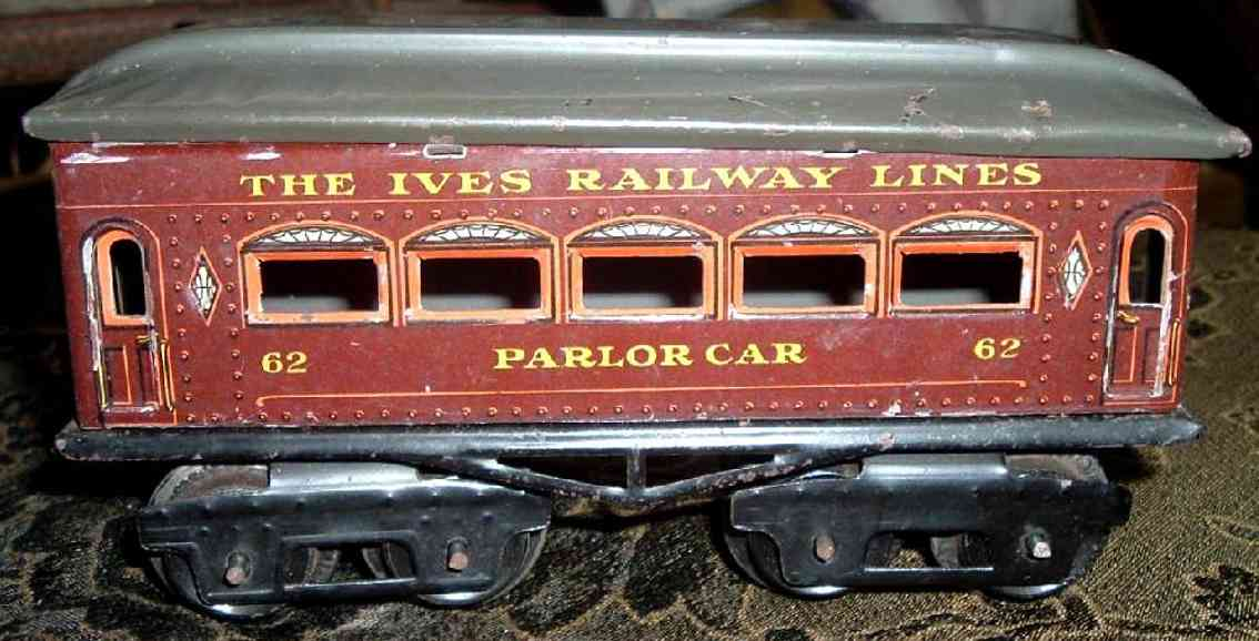 ives 62 1922 parlor railway toy passenger car chocolate brown gauge 0