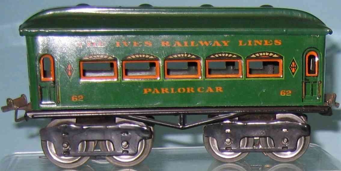 ives 62 1926 parlor railway toy passenger car green gauge 0