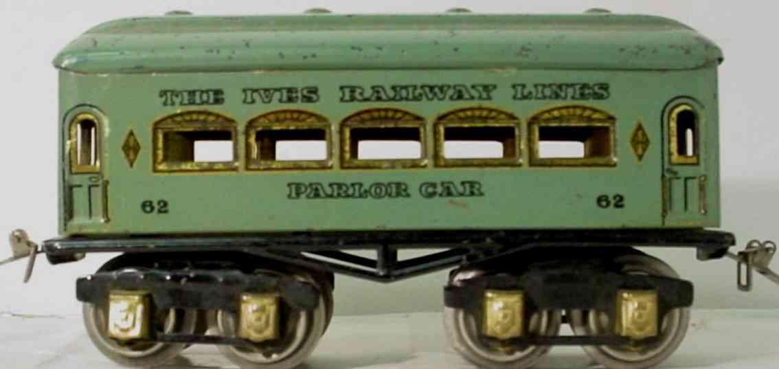 ives 62 Parlor railway toy passenger car teal gauge 0